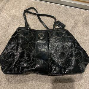 Black shiny coach handbag purse